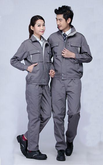 灰色春秋男女工服